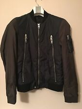 "£198 ALL SAINTS ACER ""SMALL"" INK / KHAKI NAVY MA-1 BOMBER NYLON SLIM JACKET"