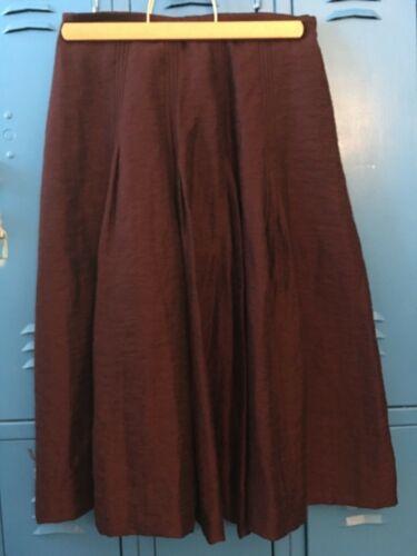 J Jill Wine Colored Pleated Skirt Petite Size 4