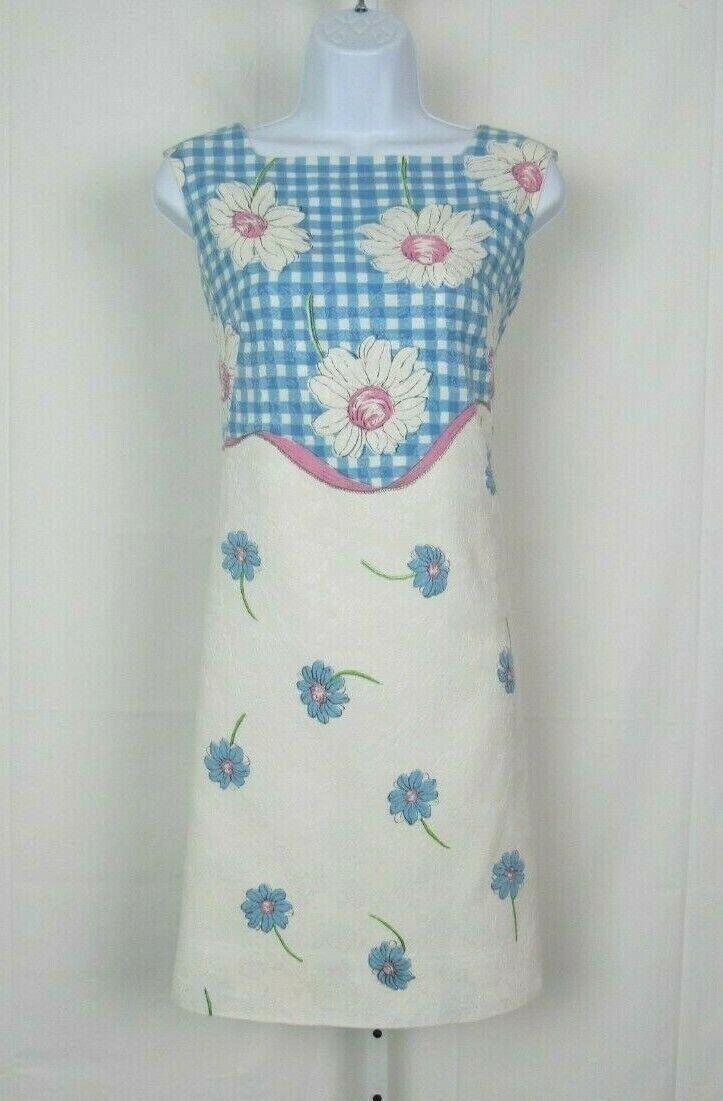 VTG 1950s 60s ALEX COLMAN TEXTURED FLORAL DRESS COTTON BLEND ?NYLON INNER LINING
