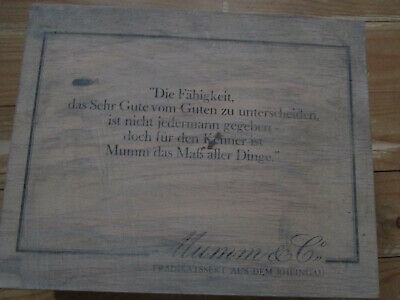 Alte Sektkiste Holz Mumm Mit Spruch Geschenkkarton 27 X 34 X 10 Ca. Um Das KöRpergewicht Zu Reduzieren Und Das Leben Zu VerläNgern