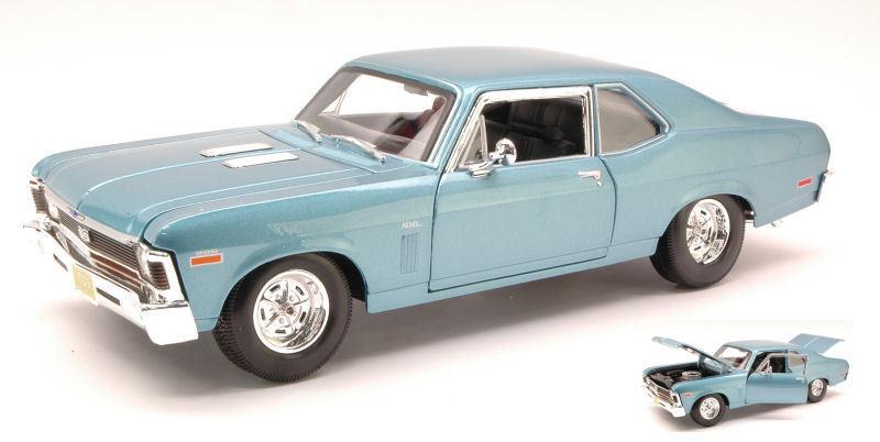 Chevrolet nova ss coupe' 1970 light metallic bluee 1 18 model maisto
