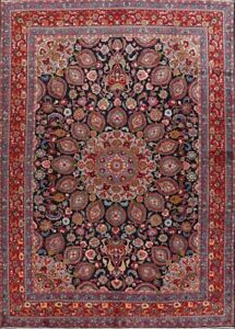 Vintage-Traditional-Floral-Navy-Blue-Kashmar-Wool-Area-Rug-Hand-Knotted-10-039-x13-039