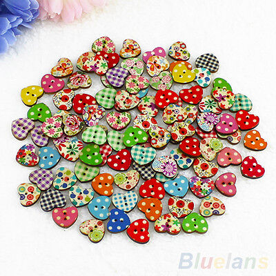 100pcs Cute Heart Dot Flower Pattern Wood Sewing Buttons Scrapbook Handcraft DIY