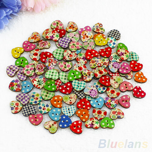100 Multicolor Heart 2 Holes Wood Sewing Buttons Scrapbooking Knopf Bouton Hot