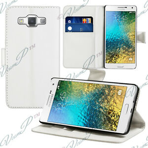 Housse-Etui-Portefeuille-Support-Video-BLANC-Samsung-Galaxy-E5-SM-E500F-E500H