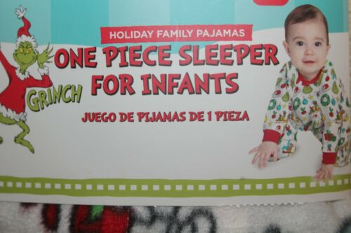NEW The Grinch Infant One Piece Sleeper Fleece Holiday Footie Pajamas