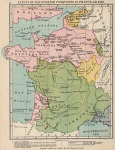 English Map Of France.Details About Hundred Years War English Conquests In France 1429 1907 Old Antique Map