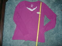 Zoey & Beth Purple Xl Knit Top With Lace, Xlarge