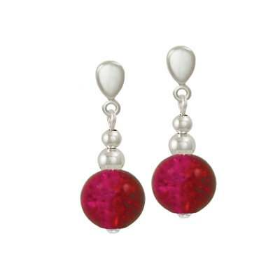 Dominica Siam Red Czech Glass Crackle Bead Silver Tone Drop Pierced Earrings