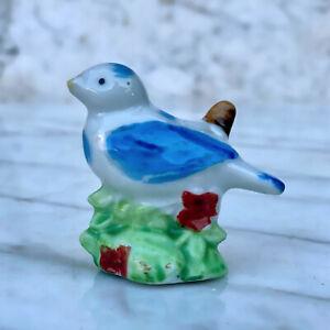 Vintage Porcelain Blue Bird on Branch Figure Made in Japan