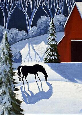 Print of folk art painting SNOW QUIET landscape deer modern mid century home DC