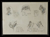 Early WWII British RAF Pilot Training Framed Cartoon Drawings
