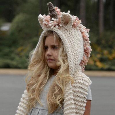 Crochet Unicorn Winter Hat Scarf Hooded Knit Beanie ...