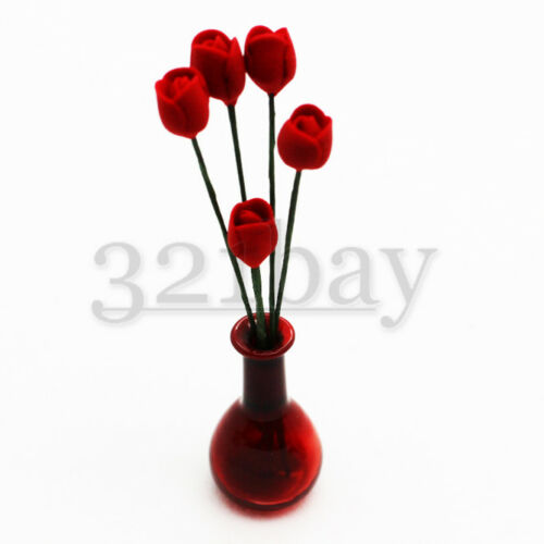 Puppenhaus Miniatur Deko Blumen Tulpe rot Tulpen aus Polymer Clay Maßstab 1:12