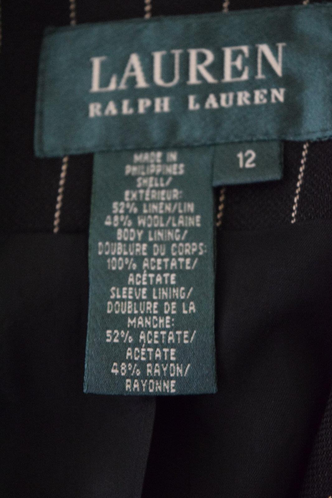 Ralph Lauren Womens Wool linen Black Striped Care… - image 4