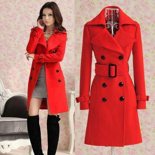 Chic Women/'s double-breasted Trench Slim Winter Warm Coat Long Jacket Outwear