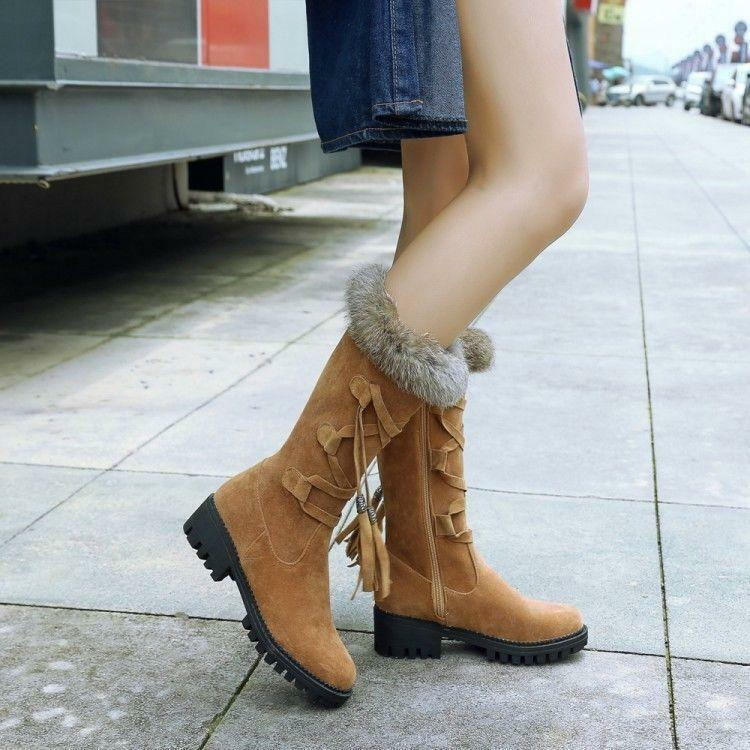 Women's Fur Trim Strappy Mid Heel Mid-Calf Boots Faux Suede Snow shoes Fashion