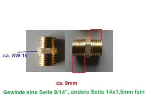 "Adapter AG 14 x 1,5 fein und AG 9//14/"" Messing Gewindemuffe"