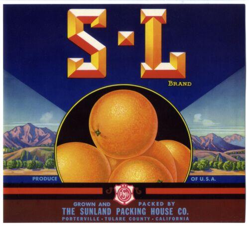 S-L Brand~ORIGINAL 1930s TULARE-PORTERVILLE CALIFORNIA ORANGE FRUIT CRATE LABEL