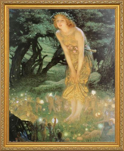 Midsummer Dream by Edward Robert Hughes. Framed Poster Print. Wood Gold Frame