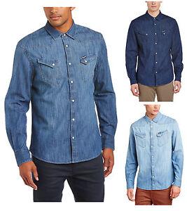 eb1e11499fd Wrangler Denim Shirt New Western Light Dark Indigo Blue Jean Shirts ...