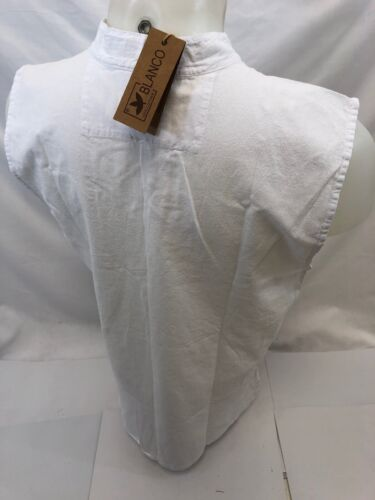 Mens LACE UP POCKET SLEEVELESS BLANCO By ENVY WHITE SHIRT BEACH TOP 100/% Cotton