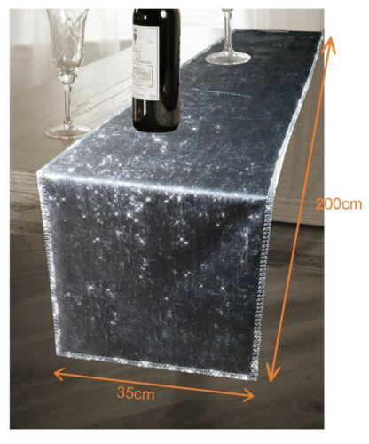 "78/"" X 13/"" Sparkling Two Tone Ombre Styled Crushed Velvet Table Runner 35 x 200cm"