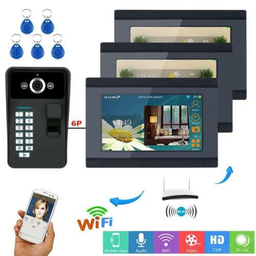 """Details about  /7/"""" 3 Monitors Smart Wifi Doorbell Fingerprint Password APP Unlock Video Intercom"""