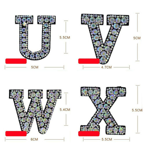 Initial A-Z Letter Rhinestone Patch Iron-on Patches Garment Applique Clothing