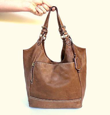 Olivia Harris Distressed Soft Leather Round Sack Hobo Shoulder Bag Handbag Purse