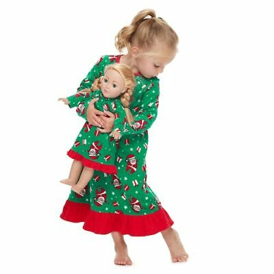 Jammies For Your Families Toddler Girls Christmas Santa Claus Fleece Nightgown Doll Gown