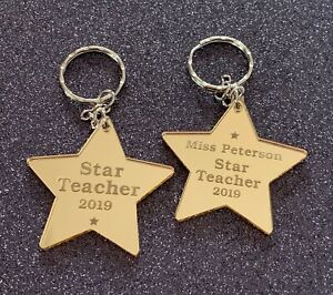 Teachers-Gift-Gold-Star-Keyring-Star-Teacher-Gold-Mirror-Acrylic-Add-Names