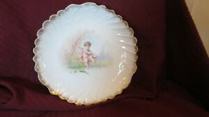 """Limoges Cherub Plate 9"""" Scalloped Embossed Playing Horn Scene L.S.& S. Antique"""