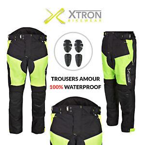 Impermeable Cordura Moto Pantalones Textil Proteccion Ce Todos Los Tamanos Negro Ebay