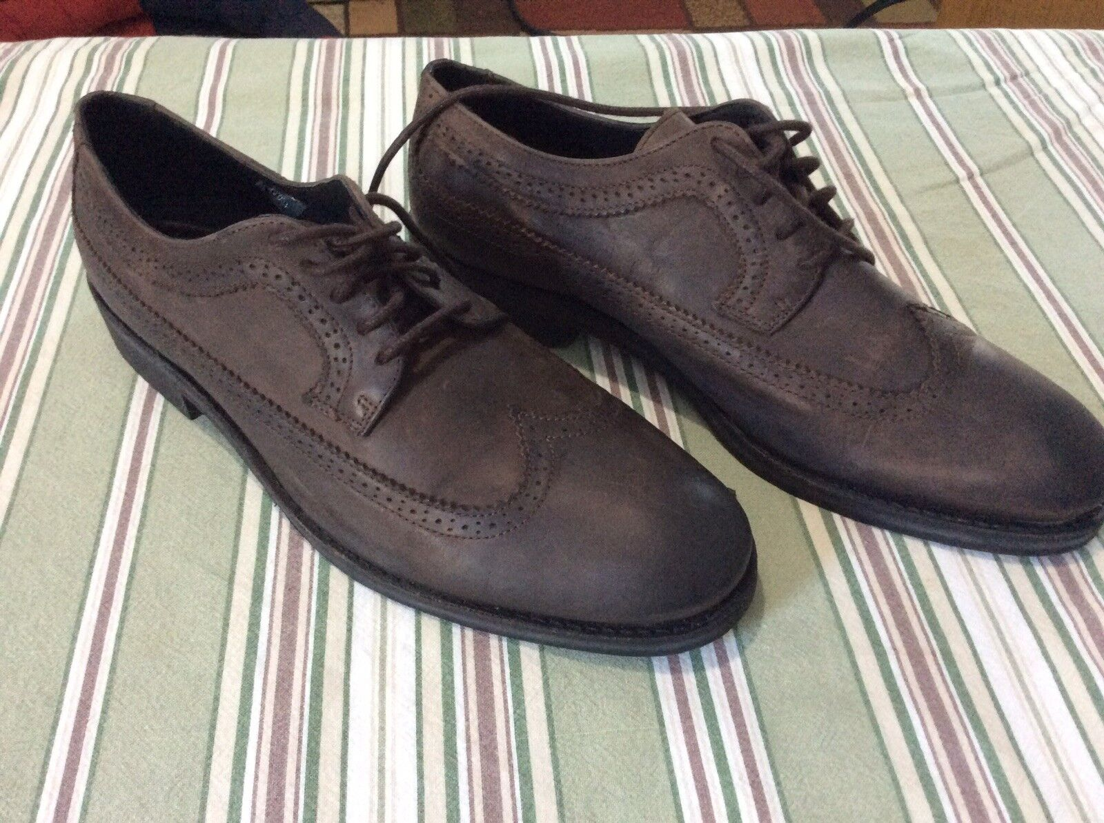 BRUSQUE Brown oiled leather wingtip rubber sole dress shoes 12