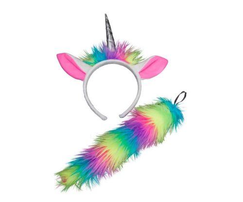 Unicorn oreilles et queue peluche fourrure Kids mythique de conte de fées accessoire robe fantaisie