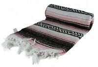 Authentic Pink Mexican Blanket Hand Woven 73 X 48