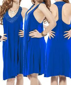 UK Women Blue Beach Dress Cover Up Swimwear Summer Bikini Cover ... 64537d278