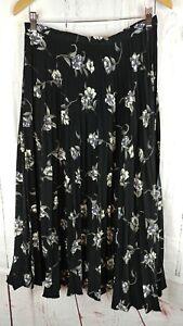 68733ae6eb Vtg 90s Maxi Skirt Womens Size Small Medium Black High Waist Floral ...