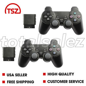2-For-Sony-PS2-Playstation-2-Black-Twin-Shock-Wireless-Video-Game-Controller