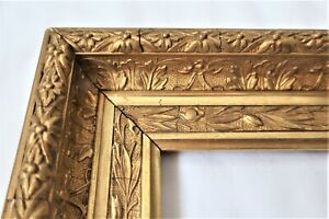 "ANTIQUE FITS 11 X 14"" GOLD PICTURE FRAME WOOD GESSO ORNATE FINE ART COUNTRY"