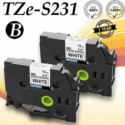 4PK TZeS231 TZS231 Black on White Label Tape For Brother P-Touch PT-9500PC 12mm
