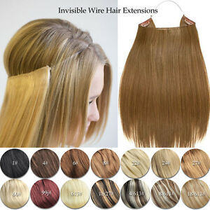 Details about Elastic Invisible Wire Hair Extensions Halo Style Remy Human  Hair Extension