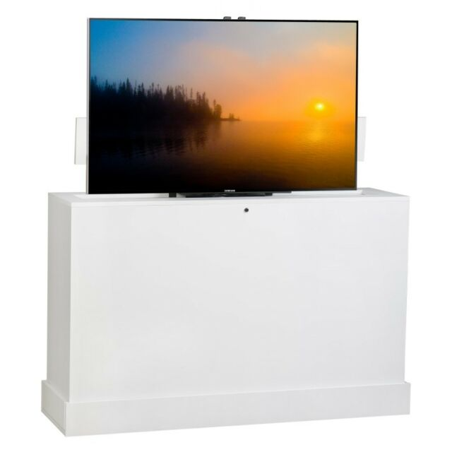 Azura 360 Degree Swivel In White Finish Tv Lift Cabinet By Tvliftcabinet