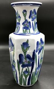 Vintage-Hand-Painted-Porcelain-Asian-Vase-12-034-Blue-Floral-Irises