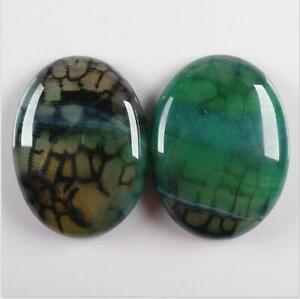2Pcs 40x30mm Rose Red Dragon Veins Agate Oval CAB CABOCHON FKY2