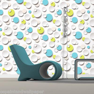 Feature Wallpaper 3D Circles Bubbles Funky Modern Lime Aqua Purple Pink Polkadot