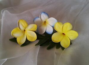 Latex frangipani plumeria hair pin flower clip silk ebay image is loading latex frangipani plumeria hair pin flower clip silk mightylinksfo