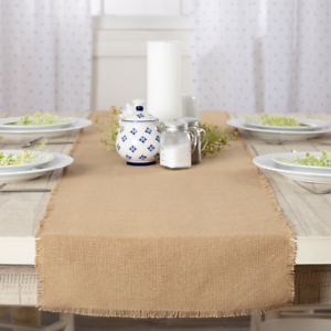 BURLAP-Natural-36-034-Table-Runner-Rustic-Primitive-Beige-Tan-Fringed-Country-Woven