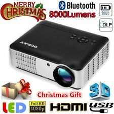 8000 Lumen 5.8 inch LCD Display Projector 1080P Home Office FOR Xmas/Thanksgiv
